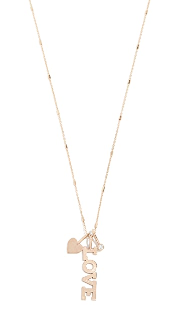 Zoe Chicco 14k Gold Charm Necklace with Charms & White Diamond