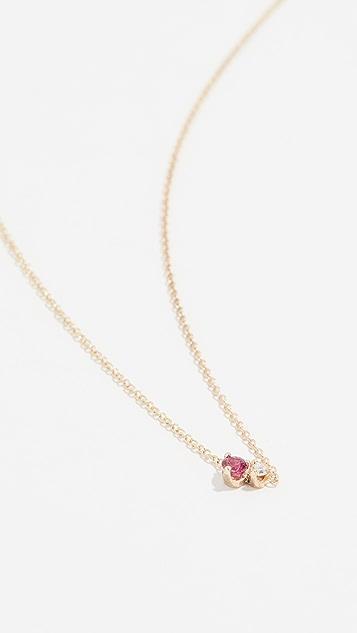 Zoe Chicco 红宝石和钻石 14K 金混合宝石项链