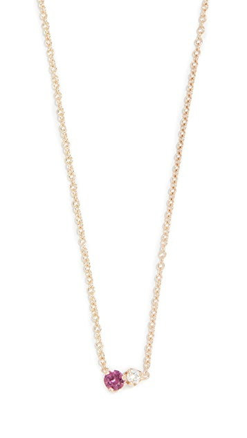 Zoe Chicco 14k Gold Mixed Stones Necklace with Ruby and Diamond