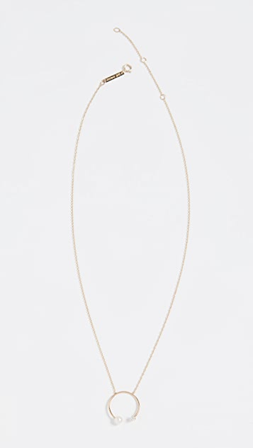 Zoe Chicco 14k Gold Freshwater Cultured Pearl Open Circle Necklace