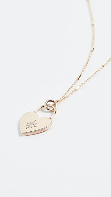 Zoe Chicco Колье из 14-каратного золота с маленьким замком в виде сердечка
