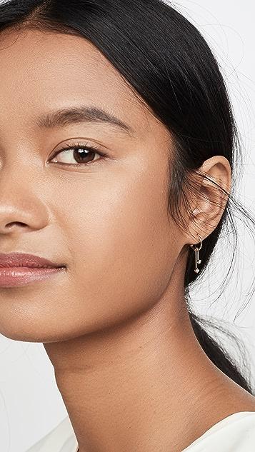 Zoe Chicco 14k 金贴耳可移动圈式耳环