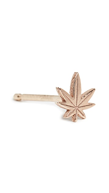 Zoe Chicco 14k Gold Itty Bitty Mary Jane Stud Earring