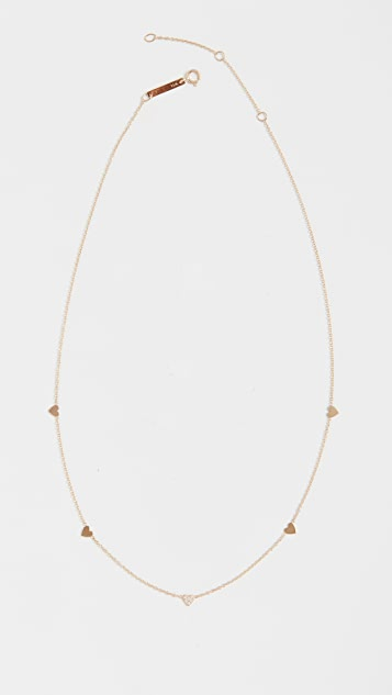 Zoe Chicco 14k Gold Itty Bitty Hearts Necklace