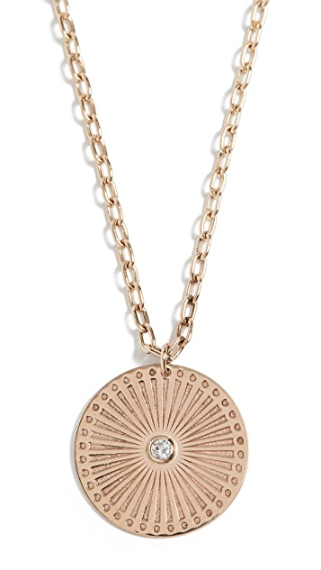 Zoe Chicco 14k Gold Medium Sunbeam Medallion Necklace