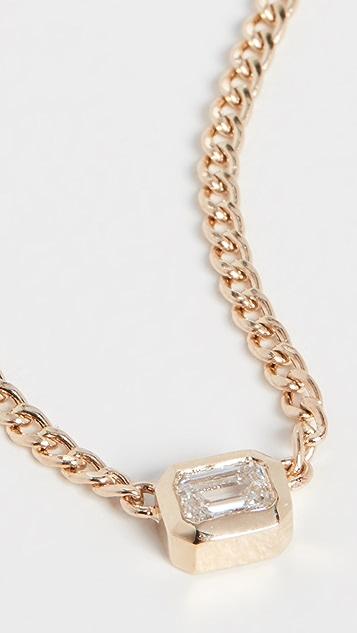 Zoe Chicco Колье из 14-каратного золота с бриллиантом огранки изумруда в закрепке «безель»