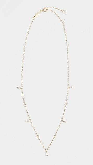 Zoe Chicco 14K 金白钻长方形宝石项链