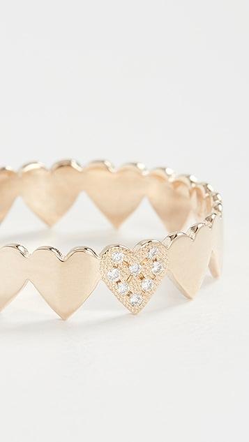 Zoe Chicco Кольцо Itty Bitty Eternity Heart из 14-каратного золота