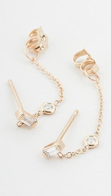 Zoe Chicco Серьги-гвоздики из 14-каратного золота с белыми бриллиантами огранки «багет»