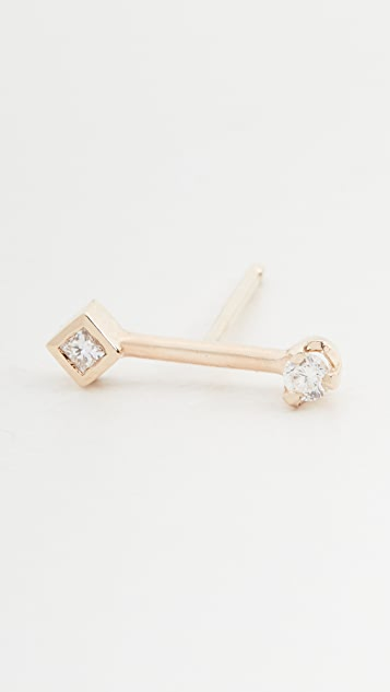 Zoe Chicco 14k Gold Barbell Studs with Prong Set