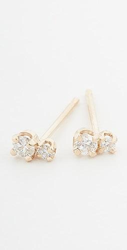 Zoe Chicco - 14k Gold Small 2 Mixed Diamond Studs