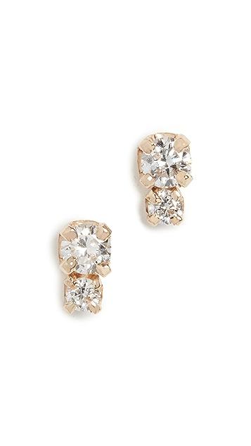 Zoe Chicco 14k Gold Small 2 Mixed Diamond Studs
