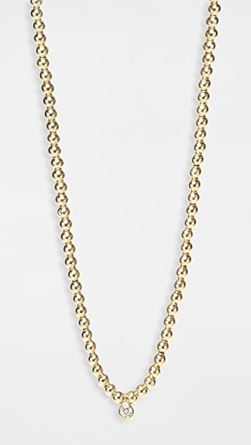 Zoe Chicco 14k Gold Chain Necklace with Gold Beads