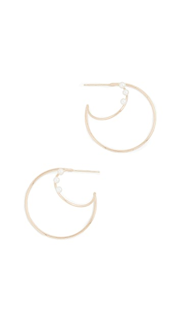 Zoe Chicco 14k Gold Double Wire Hoops with Pearls
