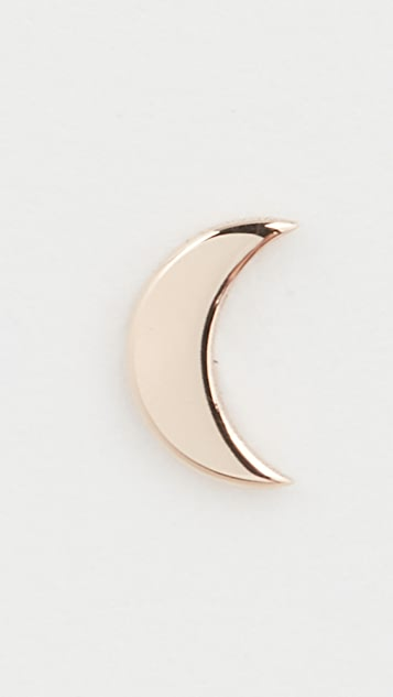 Zoe Chicco 14k Gold Single Crescent Moon Stud