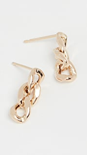 Zoe Chicco 14k Gold Large Curb Chain 3 Link Drop Earrings