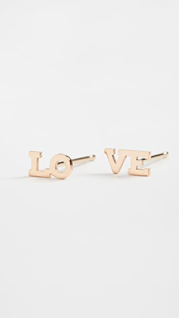 Zoe Chicco 14k Gold Tiny Capital Letter Lo and Ve