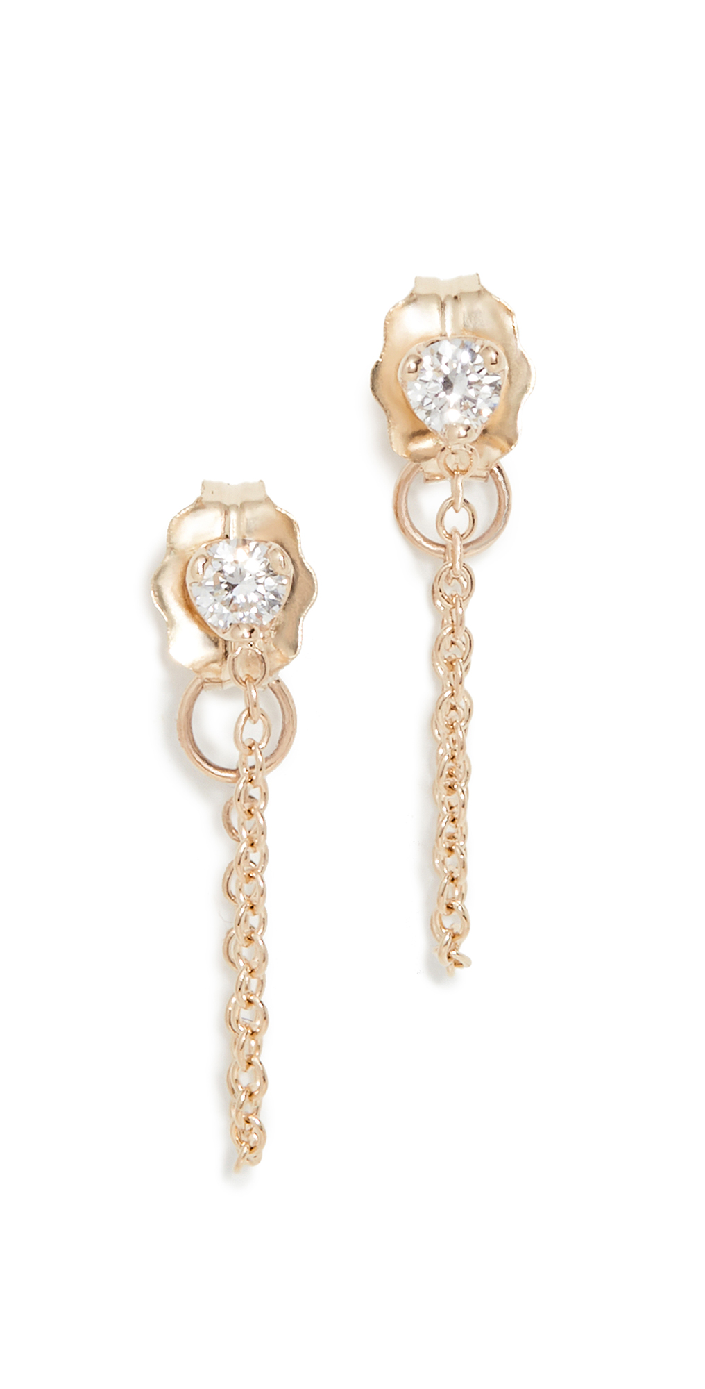 Zoë Chicco Prong Diamond Earrings In Gold