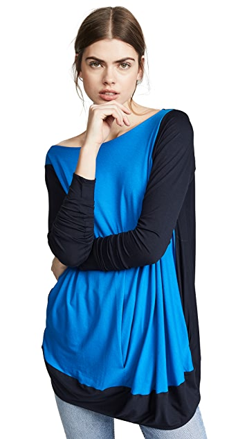 Zero + Maria Cornejo Colorblock Off Shoulder Bubble Top
