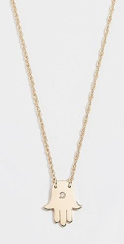 Jennifer Zeuner Jewelry - 迷你 Hamsa 钻石项链