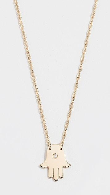 Jennifer Zeuner Jewelry Колье с мини-амулетом «хамса» и с искусственным бриллиантом