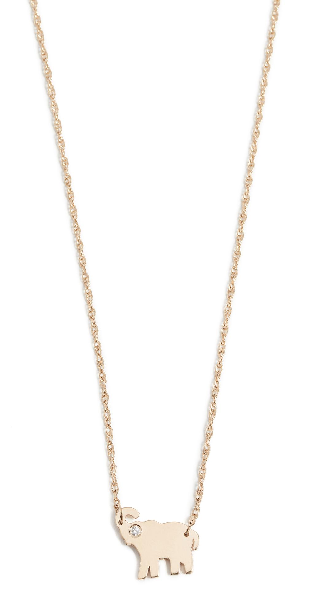Mini Elephant Necklace with Diamond