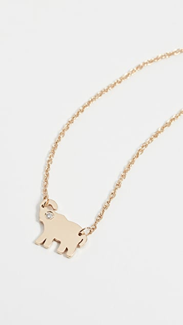 Jennifer Zeuner Jewelry Колье с бриллиантом Mini Elephant