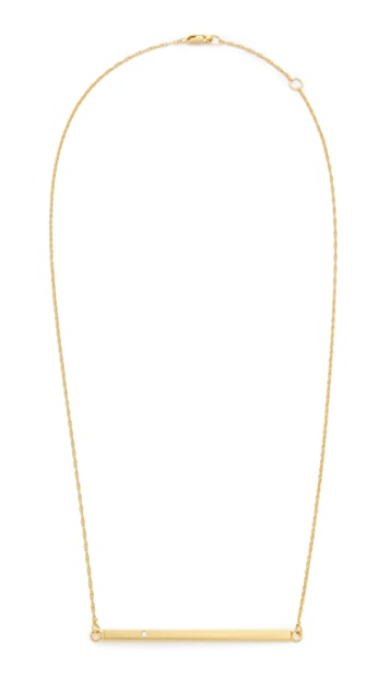 Jennifer Zeuner Jewelry Horizontal Bar Necklace with Diamond