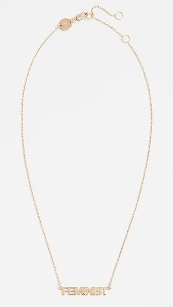 Jennifer Zeuner Jewelry Mercer Feminist Necklace