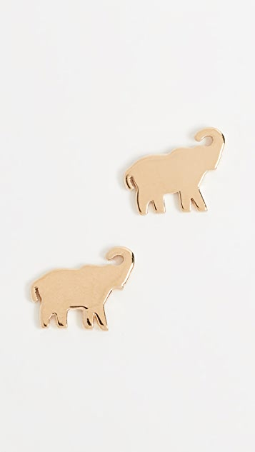 Jennifer Zeuner Mini Elephant Stud Earrings rBWfM6Sj