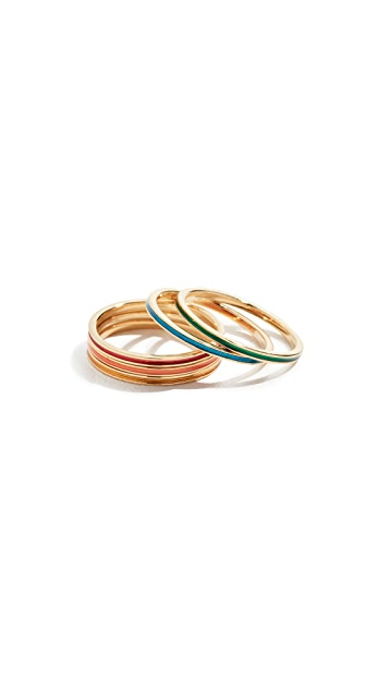 Jennifer Zeuner Jewelry Primary Rae Enamel Ring Set