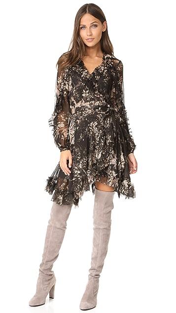 Zimmermann Maples Feathery Wrap Dress