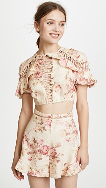 Zimmermann Corsair Flutter Lace Up Top - Cream Floral