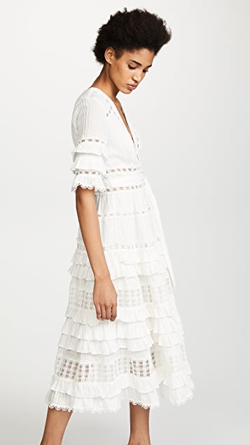 Zimmermann Corsair Frill Tier Long Dress