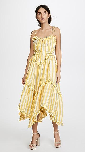 Zimmermann Lumino Floating Stripe Dress - Yellow Stripe