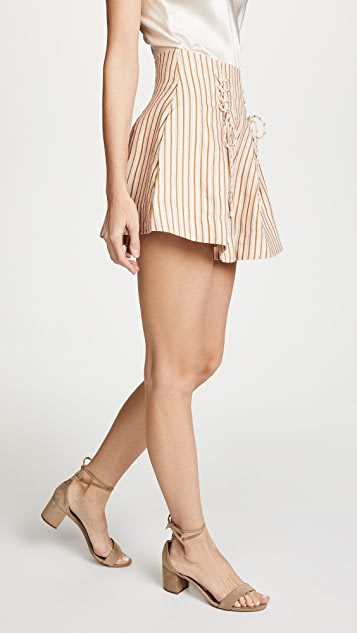 Zimmermann Painted Heart Lace Up Striped Linen Shorts
