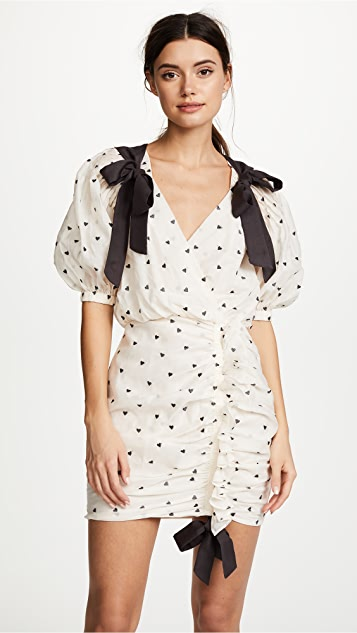 Zimmermann Painted Heart Tie Dress - Cream/Charcoal