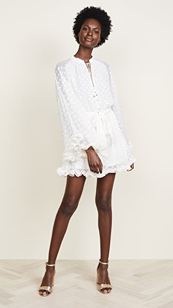 Zimmermann Golden Crinkle Playsuit