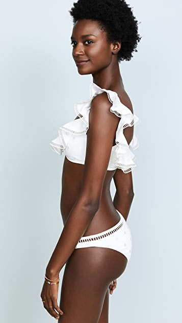 Zimmermann Melody Dot Scoop Frill Bikini