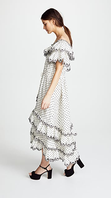 Zimmermann Jaya Scallop Tiered Long Dress