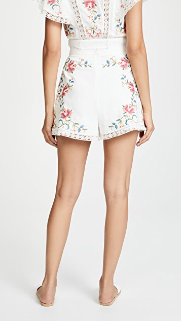 Zimmermann Laelia Cross Stitch Shorts