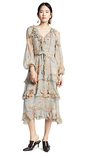 Zimmermann Unbridled Cascade Midi Dress