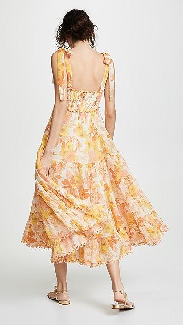 Zimmermann Платье Primrose с завязками из жатой ткани