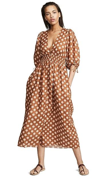 Zimmermann Длинное платье Primrose с присборенной талией