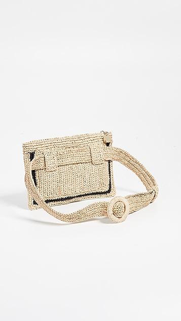 Zimmermann 草编条纹腰包