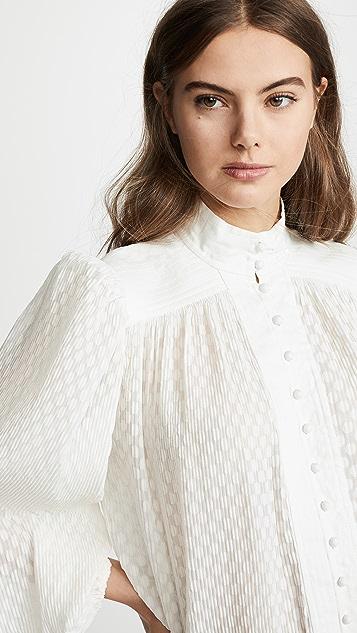 Zimmermann 打褶泡泡纱女式衬衫