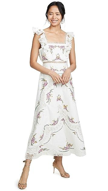 Zimmermann Длинное платье Allia с перекрещенной отстрочкой