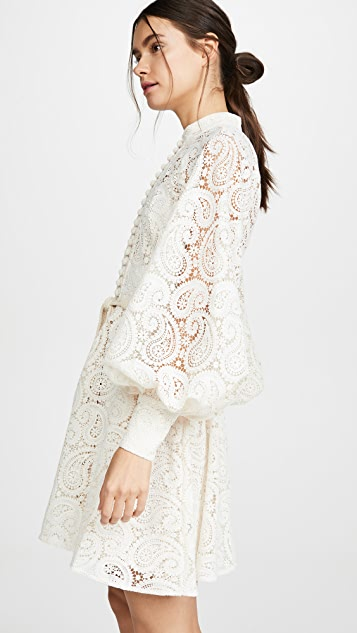 Zimmermann Amari Paisley Lace Short Dress