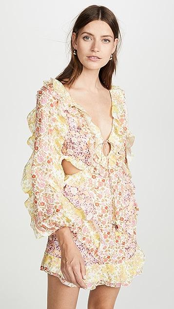 Zimmermann 金色拼接短连衣裙
