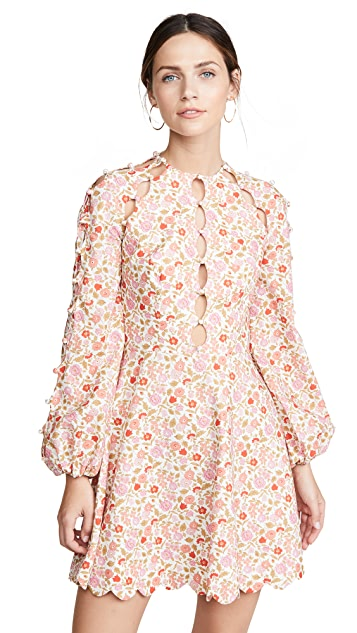 Zimmermann Goldie Scallop Short Dress